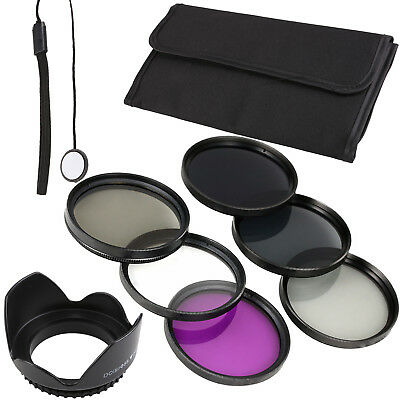 6 Pc 58mm Filter Kit UV CPL FLD ND2 ND4 ND8 Lens Hood Camera Cap for Canon LF134
