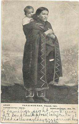Dewey, Indian Territory Bartlesville, Oklahoma 1906 Postcard Osage Woman by Drum