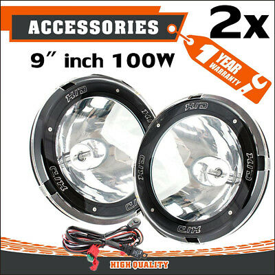 "Pair 9"" Inch 12V 100W Hid Driving Lights Xenon Spotlight Offroad 4Wd SUV Ute F7"