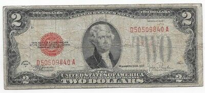 1928F $2 Dollars United States Red Seal Banknote (United States Note Series)