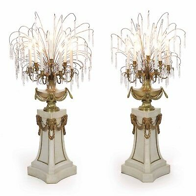 Pair of Neoclassical French Antique Marble Pedestal Floor Candelabra Lamps