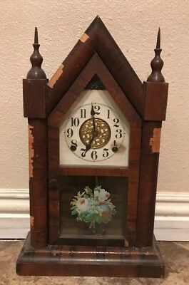 Antique Waterbury Mantle Clock Early Painted Glass Panel Working