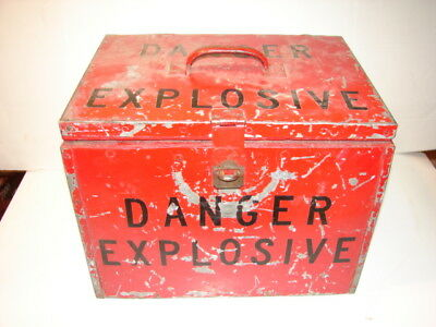 "Vintage Heavy Metal Over Wood Box Primitive Farm Fresh ""danger Explosive"" Unique"