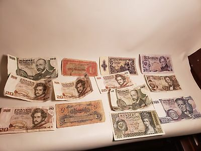 12 OLD PAPER MONEY-SHILLINGS-1980S-1970S?1960S-AUSTRIA-100-1000-20-50-nr(12)