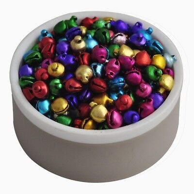 200Pcs Colorful Small Jingle Bells Loose Beads Christmas Decoration Crafts 6*8mm