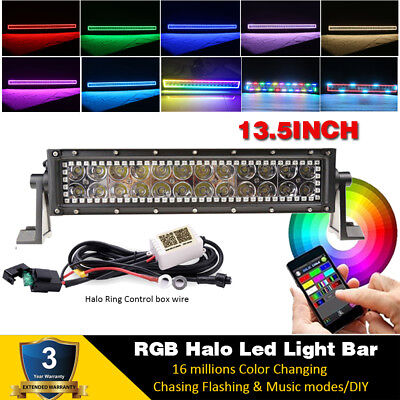 "13.5 inch 72W Led Light Bar with RGB Halo Chasing 12/14"" For Jeep ATV SUV TRUCK"