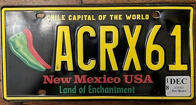 New Mexico Chile capital of the world license plate. ACRX61  NM #1 collectable