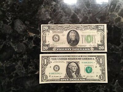 1928 B $20 Federal Reserve Note - Chicago + 2013 $1 FRN - STAR NOTE - NEW YORK