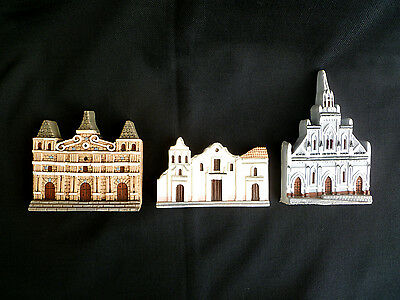 ~ 3 Commemorative CHURCHES in COLOMBIA ~ plaster wall hangers ~ A