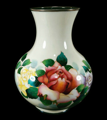 Large 10 3/8 In. Tall Vintage Japanese Cloisonne Enamel Vase Roses Flowers Japan