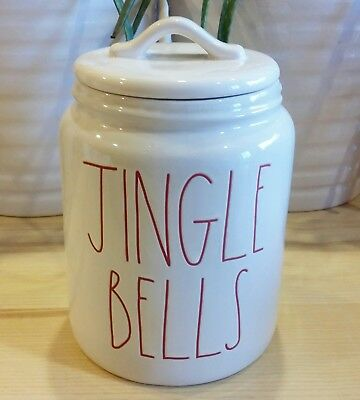 """New 2018 Release!!! Rae Dunn """"JINGLE BELLS"""" Christmas Canister Large By Magenta"""