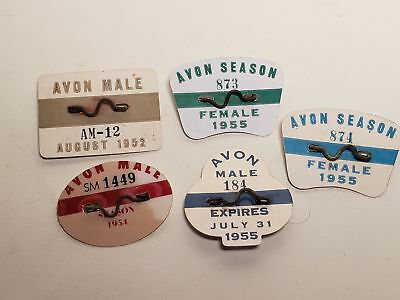 5 Old Beach Badges-New Jersey-1955-1952-1954-Avon,nj-Male-Female-Nr(16)