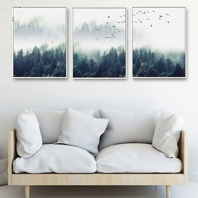 Nordic Foggy Forest Birds Canvas Wall Painting Picture Home Decor Unframed Filmy