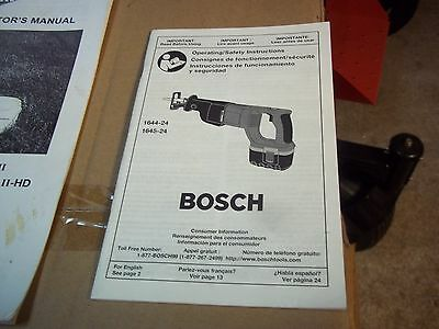 Bosch Cordless  Saw  Owners Manual Models 1644-24 & 1645-24