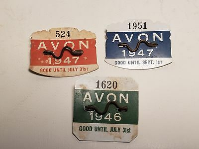 3 Old Beach Badges-1946-1947-Avon, New Jersey-#524-#1951-#1620-Nj-Nr(7)
