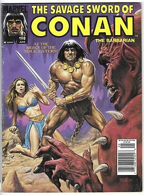 SAVAGE SWORD OF CONAN THE BARBARIAN #198 MARVEL B&W MAGAZINE COMIC BOOK Sci-Fi