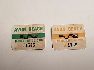 2 Old 1948 Avon New Jersey Beach Badges-#j1545-A1739-Nj-Nr(5)