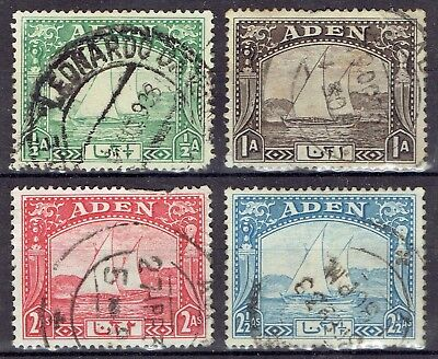 Aden.  Dhows.  4 stamps used.  ½, 1, 2 & 2½ Anna stamps.  Scott. 1,3,4 & 5.