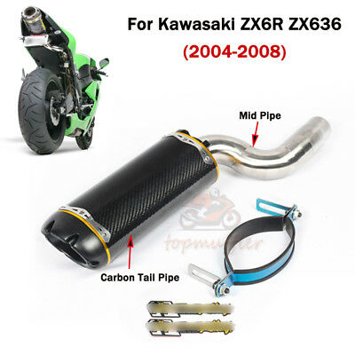 For Kawasaki Ninja ZX6R 636 2004-2008 Exhaust Mid Tail Pipe Slip Under The Seat