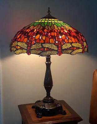 """Superb TIFFANY 22"""" True 9 Repeat Hanging Dragonfly Museum Reproducton Table Lamp"""