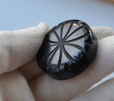 chunky large Antique Art Deco hand carved black bakelite button flower carving