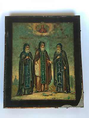 Antique Orthodox Icon Solovetsky saints 19 th. century