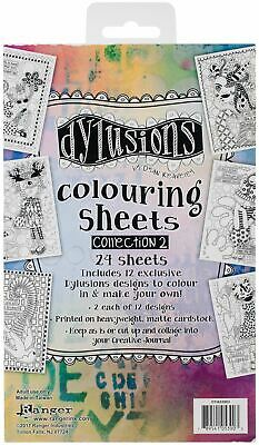 Coloring Sheets #2 5 inch x 8 inch - 2 Each Of 12 Designs - Dylusions