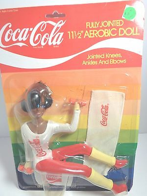 """Coca Cola Fully Jointed 11 1/2"""" Aerobic Doll from 1980's RARE Black #4021B"""