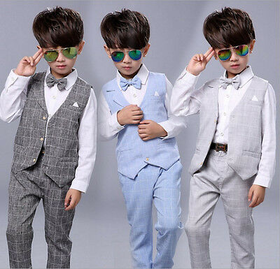 4Pcs Formal Toddler Children Boy Kid Short Suit Outfits size 000-6 Wedding Party