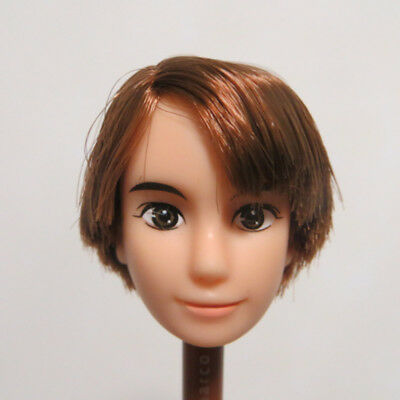 Head for Licca Doll Boy Face White Skin Brown Hair DIY Japan Doll Head Body Part