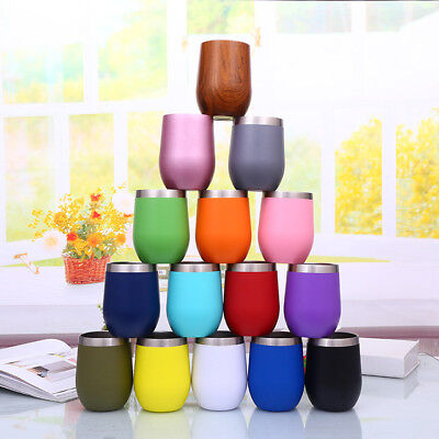 NEW Metal Stainless Steel Wine Glass Tumbler Double Wall Insulated Rambler Cup