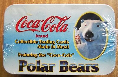 1995  COCA  COLA POLAR  BEARS  Metal Cards:  FACTORY  TIN  SET  +  Free Post