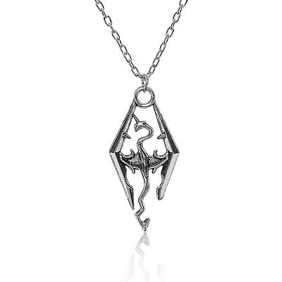 Inspired by the Elder Scrolls Logo Skyrim Dragon Pendant Charm Necklace Chain