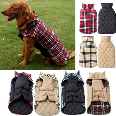 US Pet Dog Waterproof Reversible Plaid Jacket Coat Winter Warm Clothes S-XXL