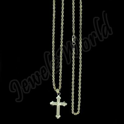 Real 10k Yellow Gold Elephant Charm /&10k Gold Rope Chain Necklace 24inch,Cross N