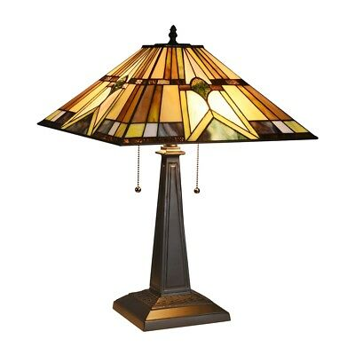 Mission Stained Glass Lampshade Tiffany Table Lamp Country Style Bedside Lamp