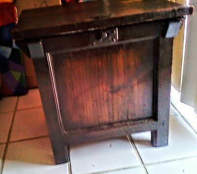 ANTIQUE Asia Oriental Chinese RICE BIN STORAGE SIDE end occasional TABLE