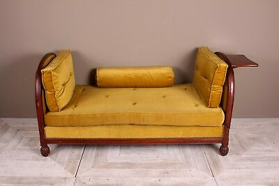 French Art Deco Mahogany and Velvet Daybed Circa 1930