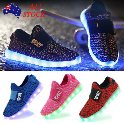 AU Kids Baby Boys Girls LED Flashing Light Sneakers Outdoor Sport Shoes Size