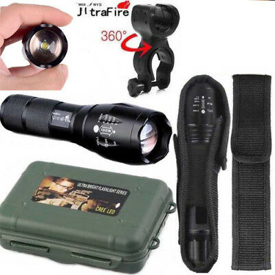 Ultrafire Flashlight 50000LM T6 LED Light Zoom Tactical 18650 +Torch Holder MEW