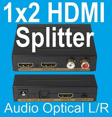 *Super1x2 HDMI Splitter With 2CH / 5.1CH L /R Optical Audio Extractor for IQ3