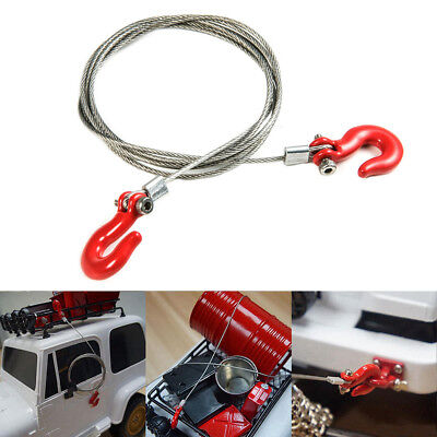 1/10 Scale Steel Wire Rope with Hook RC Rock Crawler Truck Accessory Red