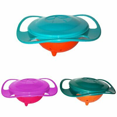 Children Portable 360 Rotate Gyro Food Bowl Spill-Proof Toddler Training Bowl EA