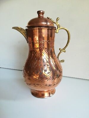 Hand Hammered Turkish Copper Brass Water Pitcher Jug with lid Embroidered