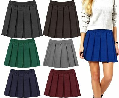 Kids Plain Box Pleated School Skirt Girls Uniform Elasticated Waist Mini Skirt