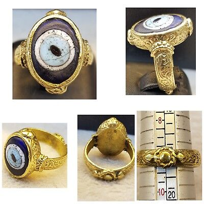 #87 Ancient Old Brass Gold Gulied Beautiful Ring With Evil Eyes Protection Gabre