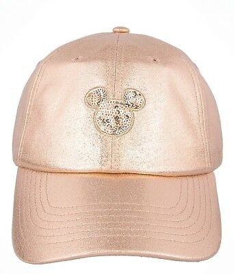 New Disney Parks Exclusive Rose Gold Mickey Mouse Sequins Baseball Hat Cap Pink