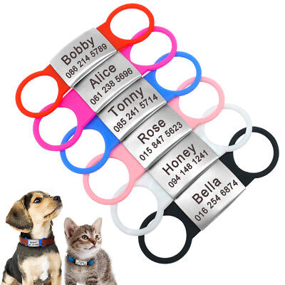 Slide on Dog Tag Personalised No Noise Rubber ID Nameplate Engraved Collar Tags
