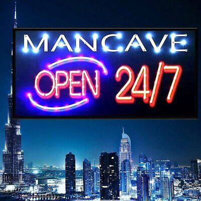 Bar Open Sign NEON EFFECT Home Bar Man Cave Pub Club Window Plaque Display
