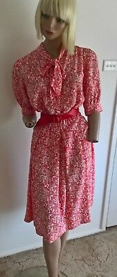 Vintage 80's red & white rose pattern dress  with tie neck size S